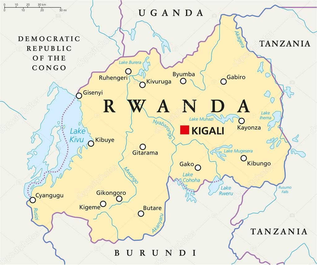 Mapa poltico de ruanda archivo imgenes vectoriales furian rwanda political map with capital kigali national borders important cities rivers and lakes english labeling and scaling illustration gumiabroncs Images
