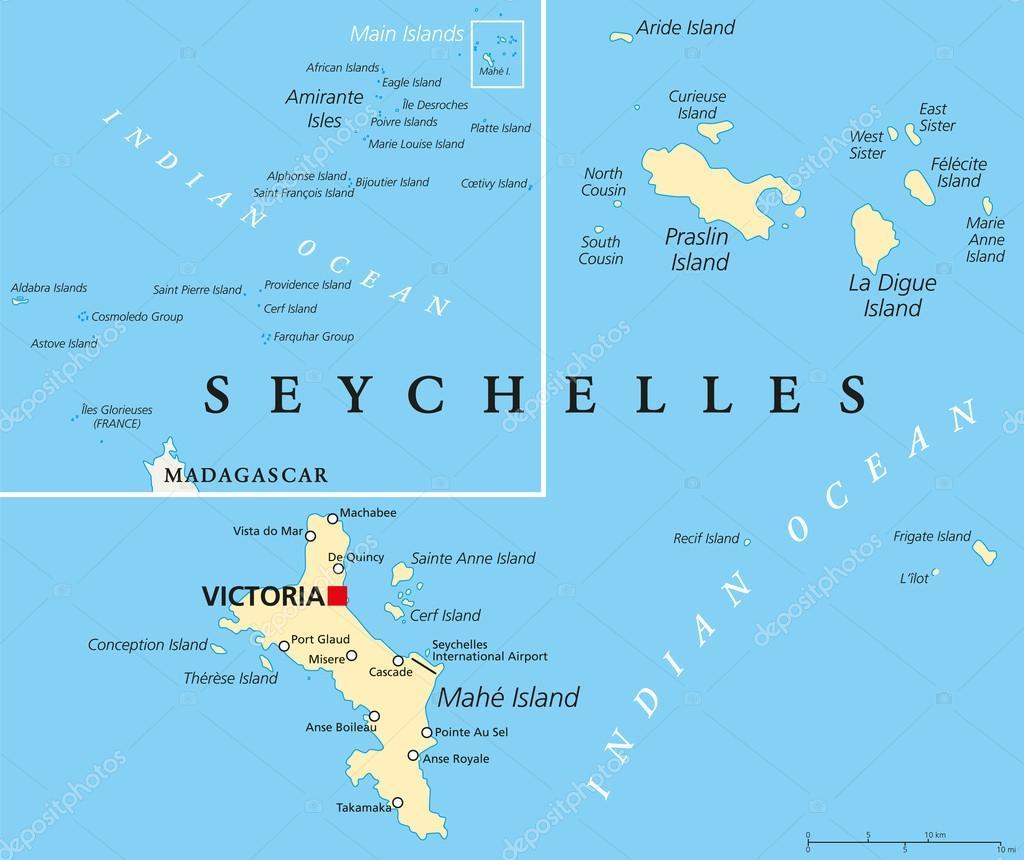 Seychellen Karte Afrika.Politische Landkarte Seychellen Stockvektor Furian 59206155