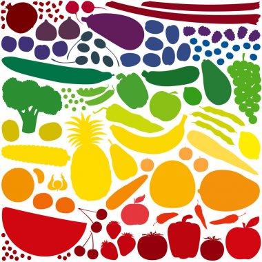 Fruit Vegetables Rainbow Colors