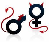 Špatná holka špatné chlap ďábel Symbol