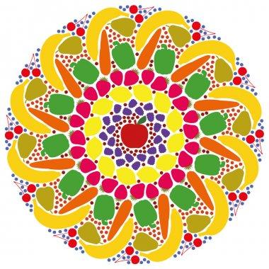 Mandala Vegetables Fruits Colors