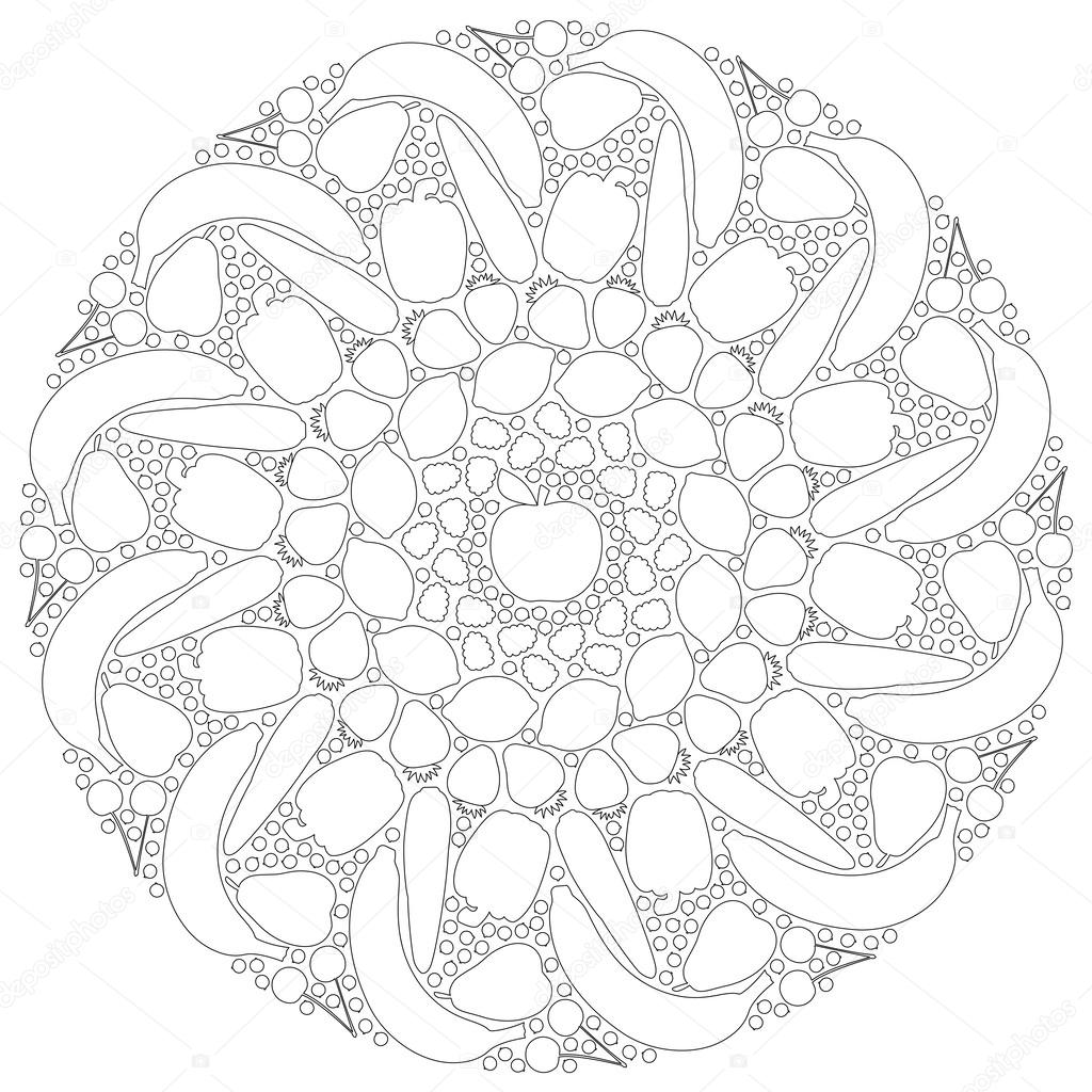 fruits vegetables mandala outline u2014 stock vector furian 63565905