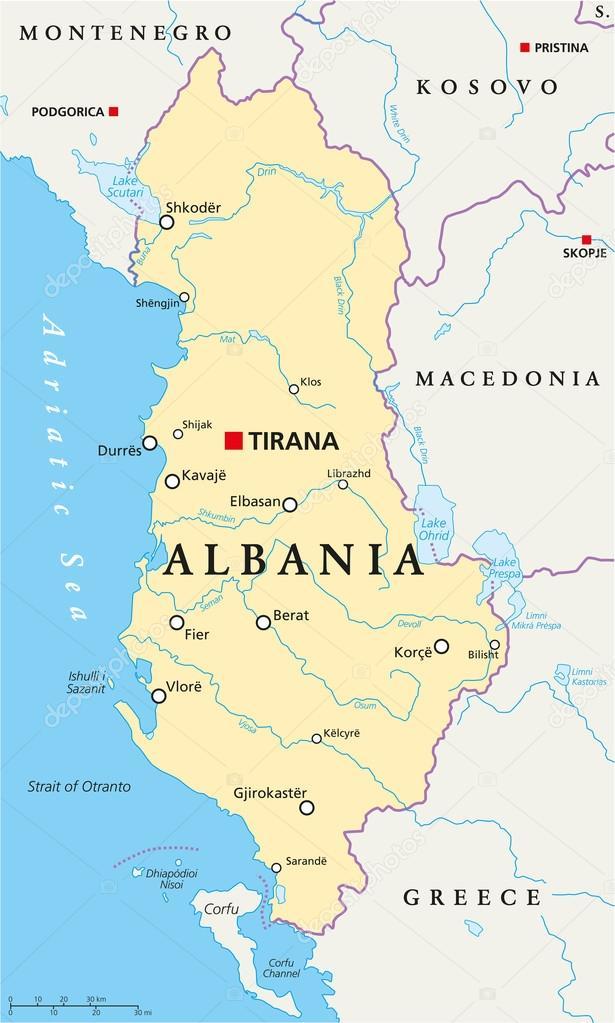 Albania Political Map Stock Vector C Furian 64518869