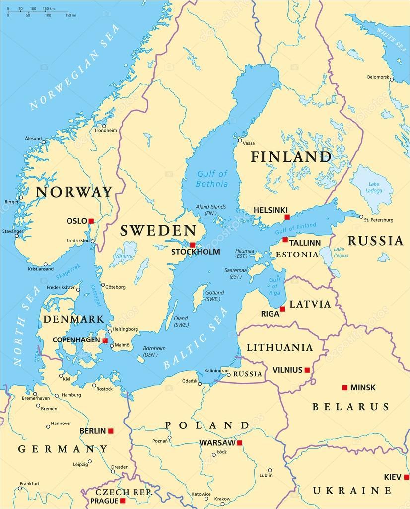 karta östersjön Östersjön område politiska karta — Stock Vektor © Furian #64678523 karta östersjön