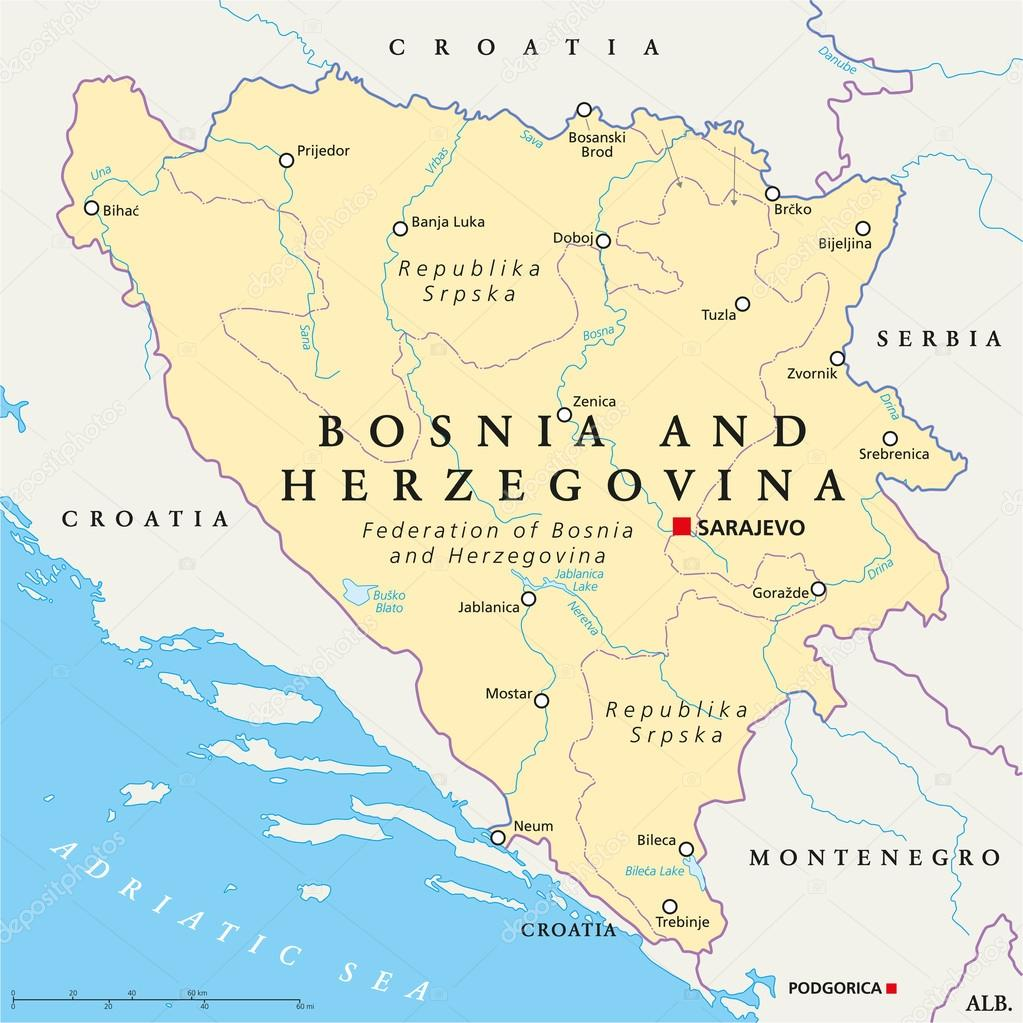Bosnia And Herzegovina Political Map Stock Vector Furian 65153151