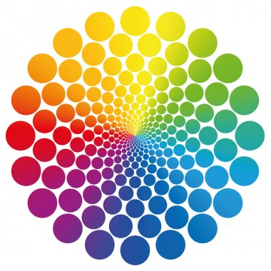 Circles Rainbow Gradient Colored White