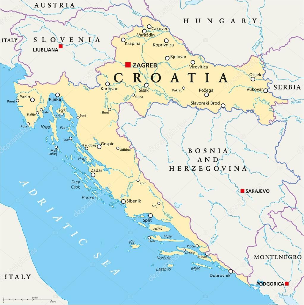 croacia no mapa mapa político de Croacia — Vector de stock © Furian #65433337 croacia no mapa