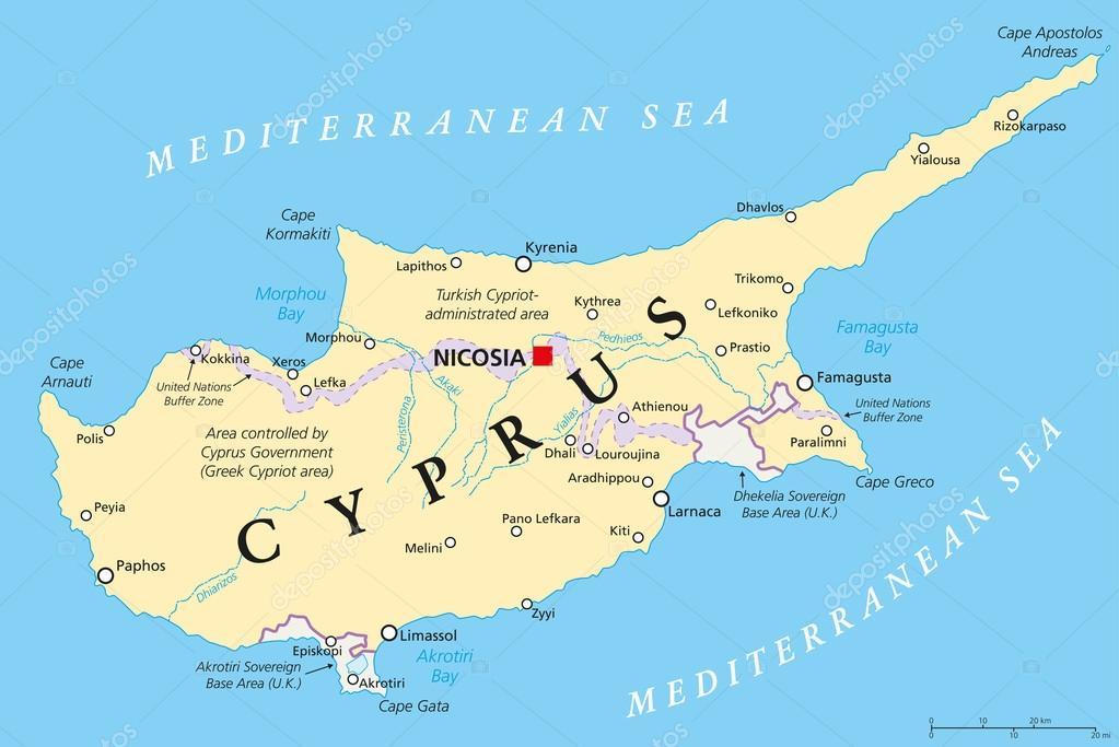 Karta Famagusta Cypern.Cypern Politiska Karta Stock Vektor C Furian 65453343