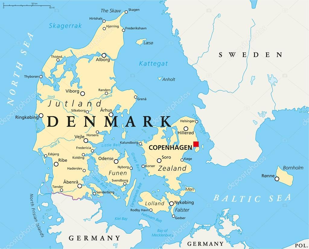 Denmark Political Map Stock Vector C Furian 65519553