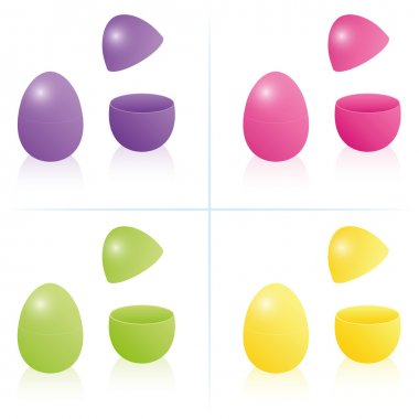 Easter egg boxes, closed and opened to be filled - in the four bright spring colors purple, pink, green and yellow. Three-dimensional isolated vector illustration on white background. stock vector