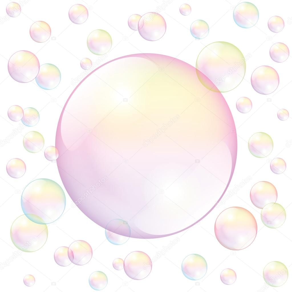 Soap bubble background download free vector art stock graphics - Big Pink Soap Bubble Surrounded By Small Soap Bubbles To Fill In Any Text Or Image Isolated Vector Illustration Over White Background Vector By Furian