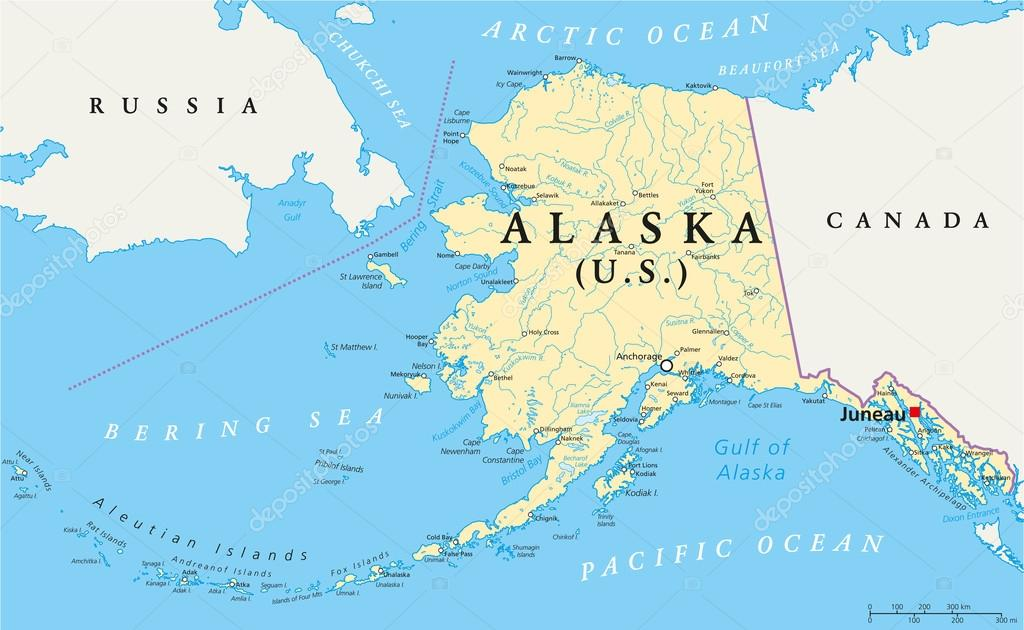 Politische Karte von Alaska — Stockvr © Furian #69663879 on