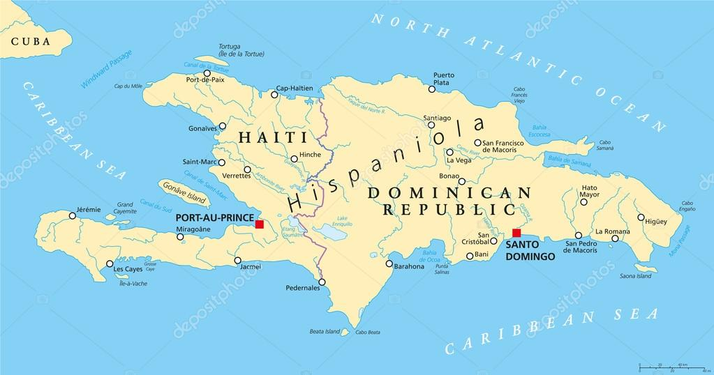Hispaniola Political Map with Haiti and Dominican Republic — Stock Vector