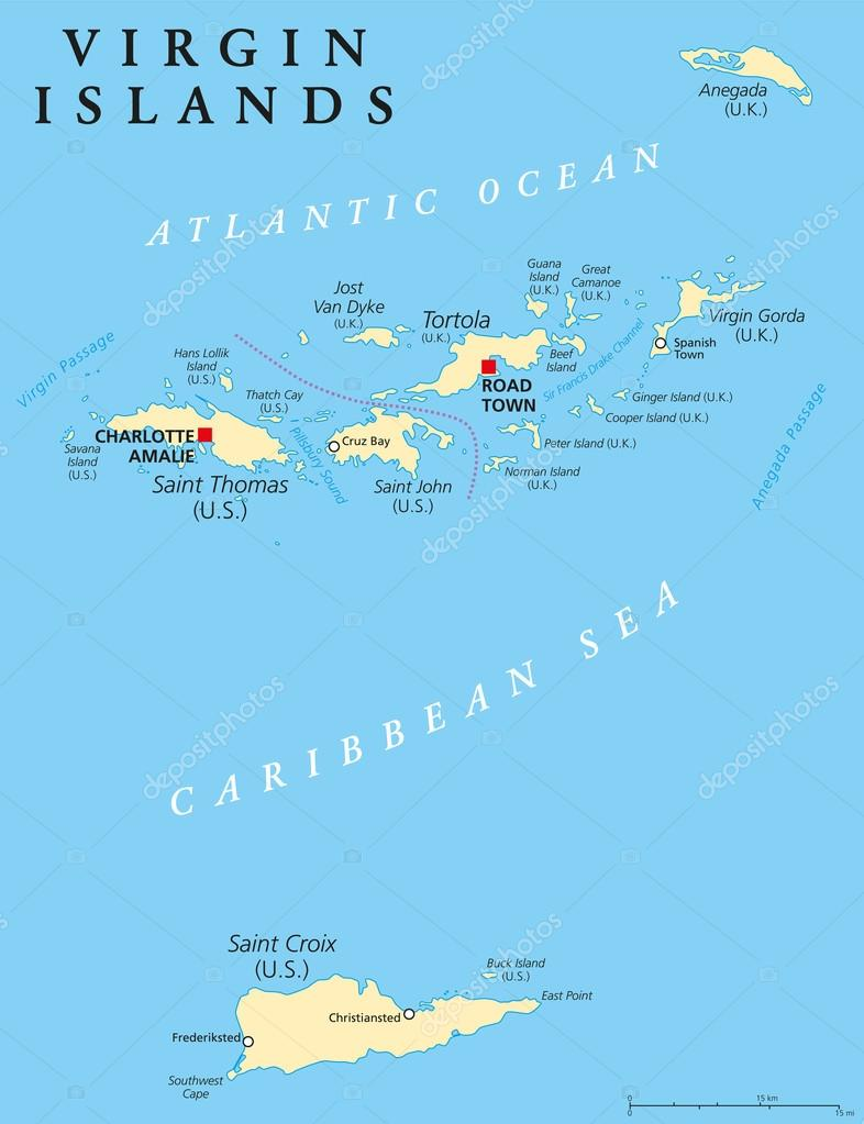 Virgin Islands Political Map — Stock Vector © Furian #70120371