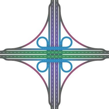 Road Junction Cloverleaf Interchange Colors