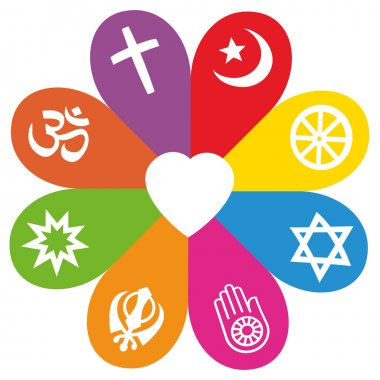 Religious signs on colored petals assembling around a heart as a symbol for colorful religious individuality or faith - Christianity, Islam, Buddhism, Judaism, Jainism, Sikhism, Bahai, Hinduism. stock vector