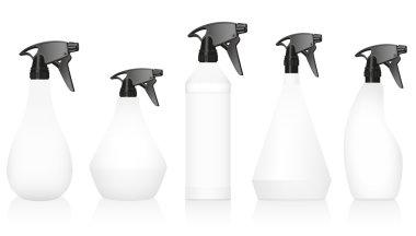 Spray Bottles Variations Set Blank White