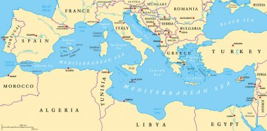 Mediterranean Sea Region Political Map