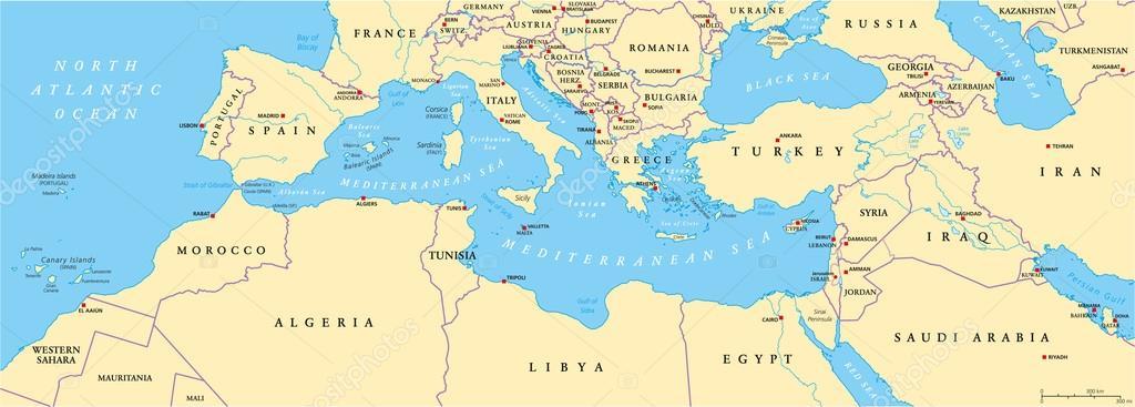 Mediterranean Political Map.Mediterranean Basin Political Map Stock Vector C Furian 72431335