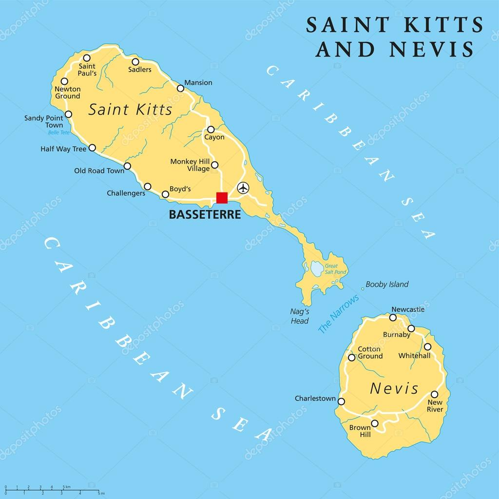 Saint Kitts and Nevis Political Map Stock Vector Furian 76010493