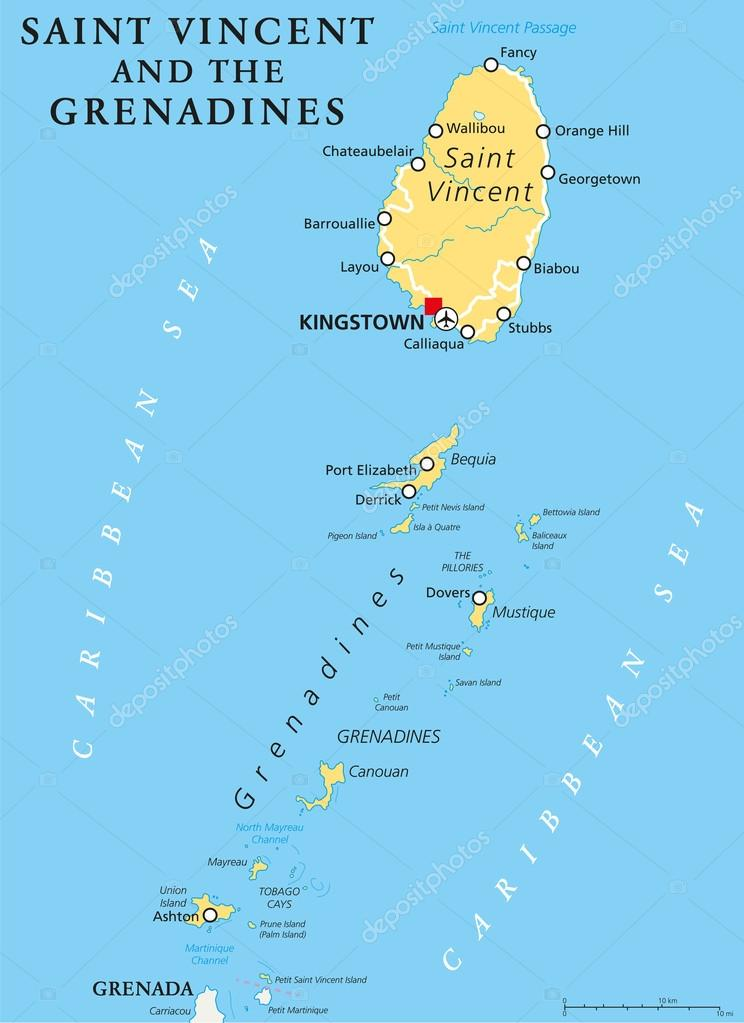 Saint Vincent and the Grenadines Political Map Stock Vector