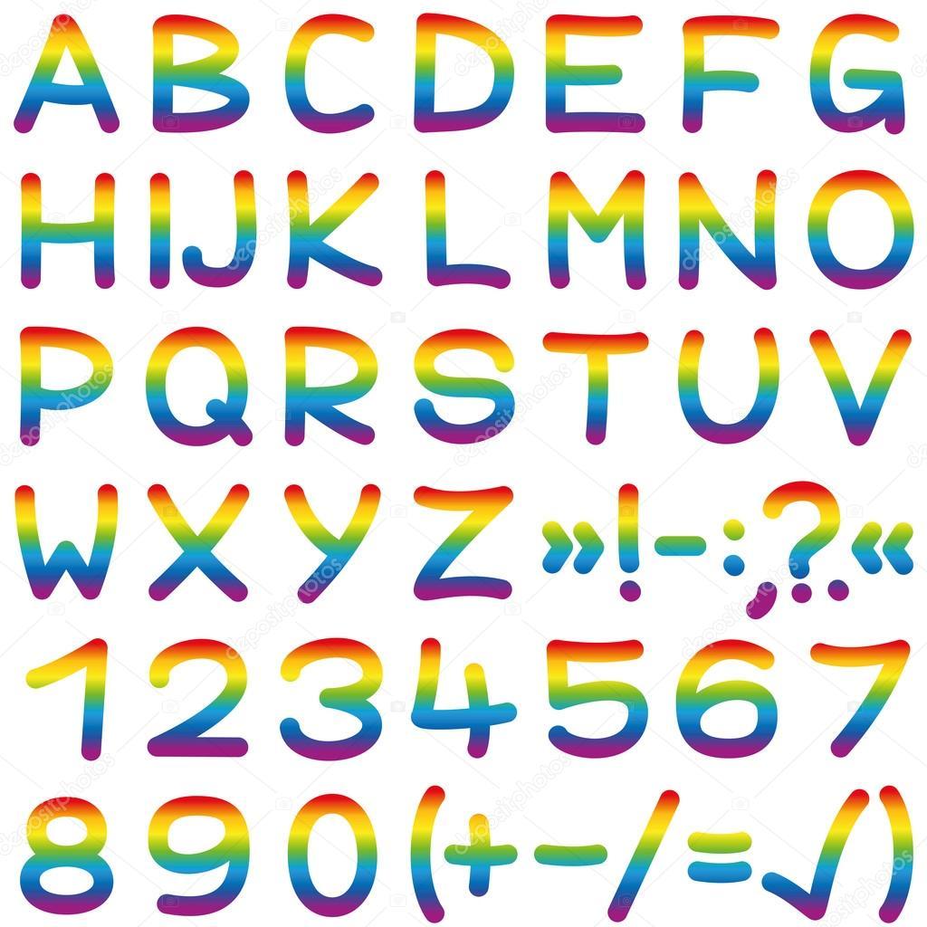 Fuente arco iris colores Letras del alfabeto — Vector de stock ...