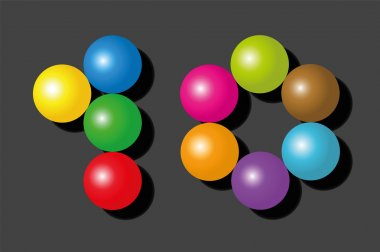 Ten Items Pieces Balls Colors Number Black