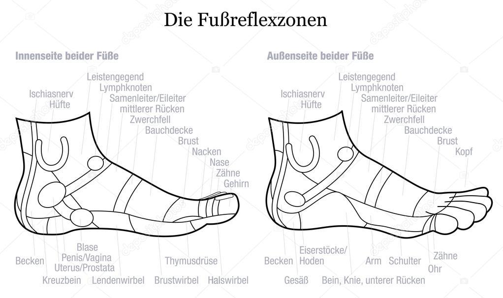 Fuß-Reflexzonenmassage Seite Profil Ansicht Beschreibung Deutsch ...