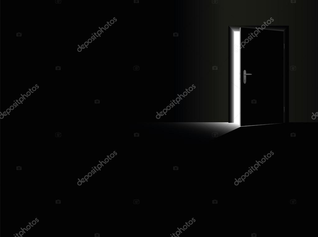 DarknessOpenDoorGlimmerLightEscapeBlack