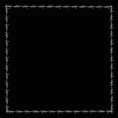 Barbwire Frame Square Border Black