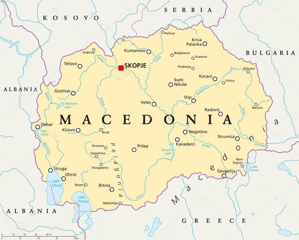 mapa da macedonia Macedonia Political Map — Stock Vector © Furian #84404686 mapa da macedonia
