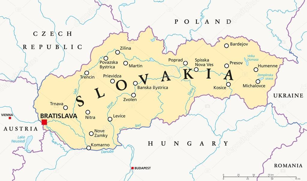 szlovák térkép Szlovákia politikai térképe — Stock Vektor © Furian #85880296 szlovák térkép