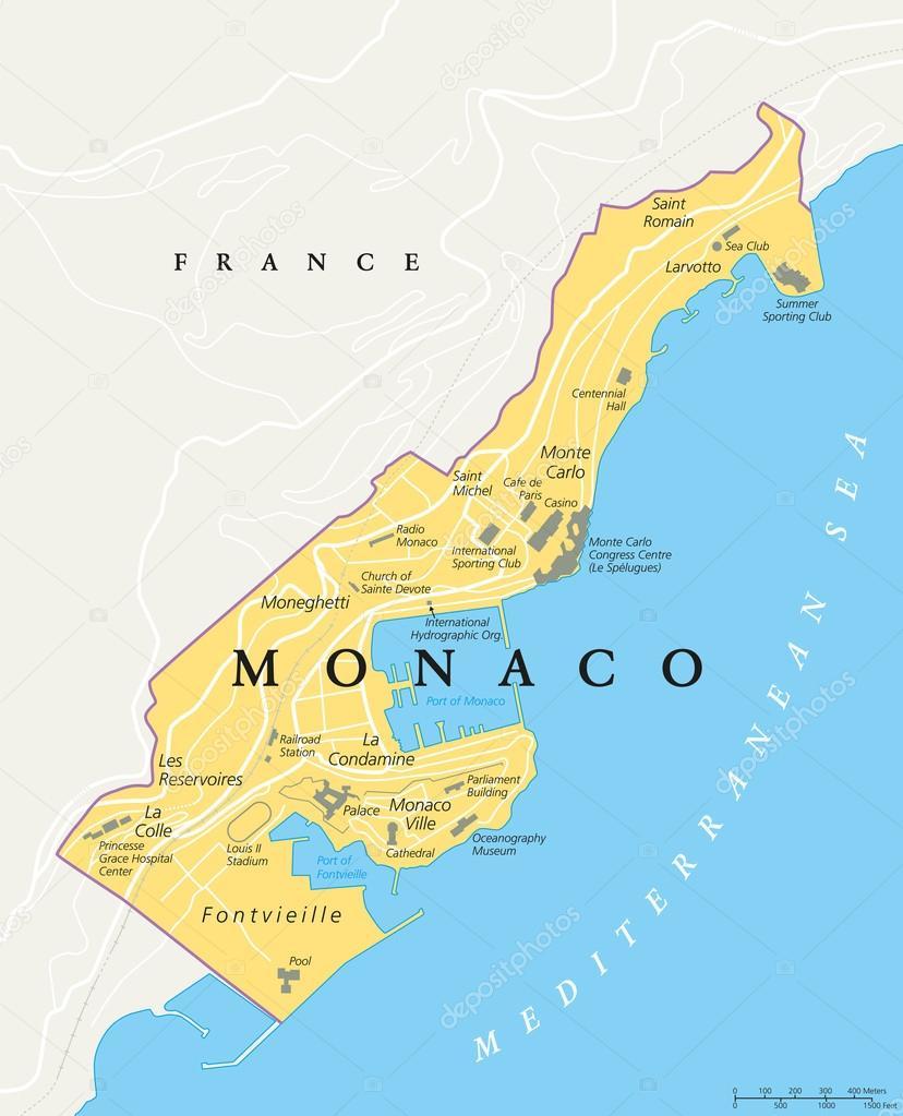 monaco karta Monaco politiska karta — Stock Vektor © Furian #87697344 monaco karta