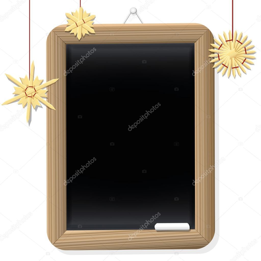 Schultafel clipart leer  Sterne Weihnachten leer Retro Tafel Stroh — Stockvektor © Furian ...