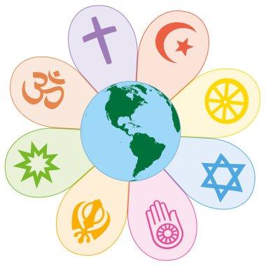 World Religions United Peace Flower Symbol