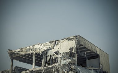 collapsed building after earthquake
