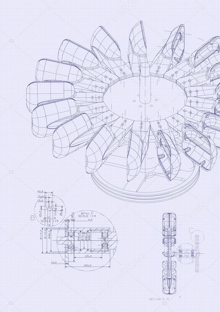 Industrial blueprint of hydraulic water turbine stock photo blueprint detail from top view photo by micrologia malvernweather Gallery