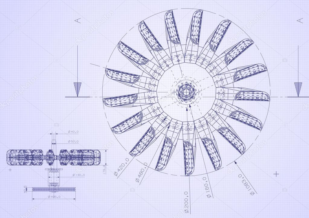 Industrial blueprint of hydraulic water turbine stock photo blueprint detail fromtop view photo by micrologia malvernweather Images