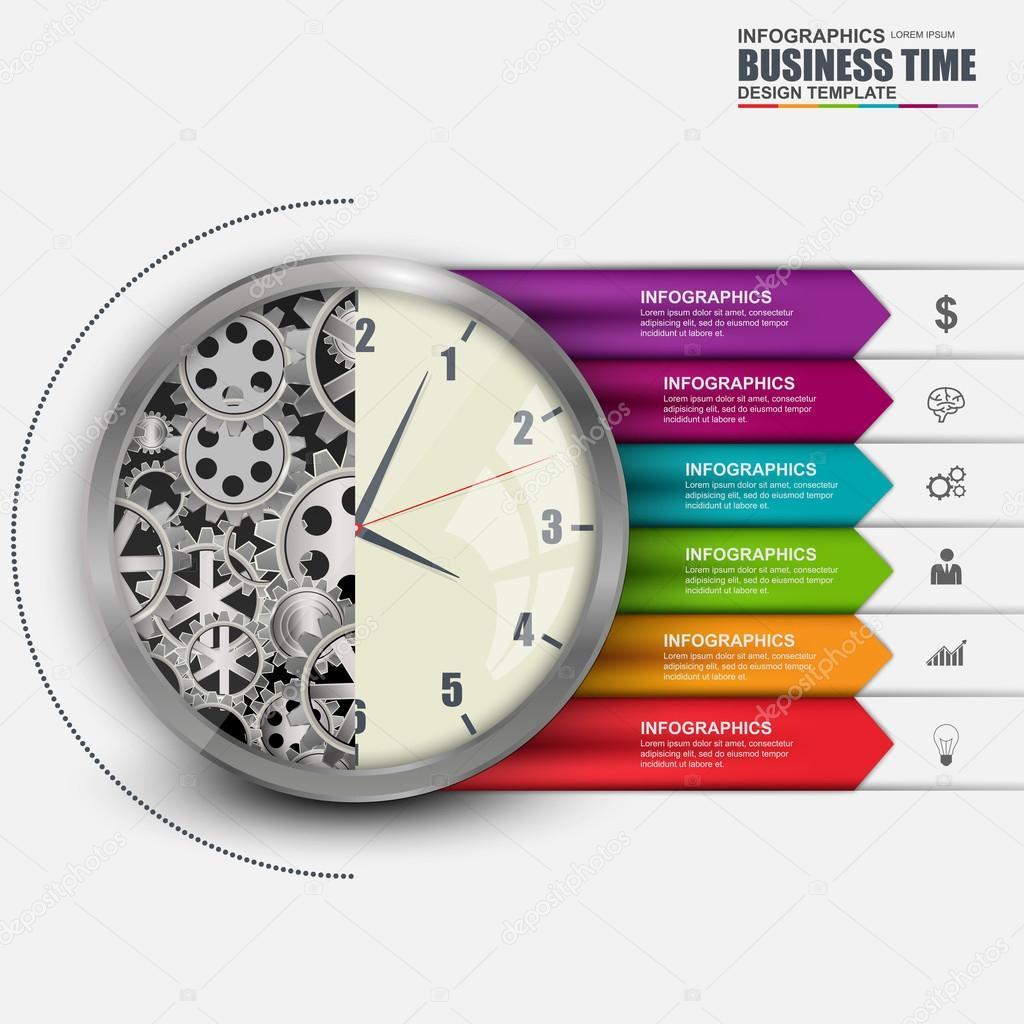 3d dijital i infographic soyut ak i lemi i saat for Time design planner