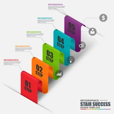 Abstract 3D business stair step success Infographic. Can be used for workflow layout, data visualization, business concept with 5 options, parts, steps or processes, banner, diagram, web design.