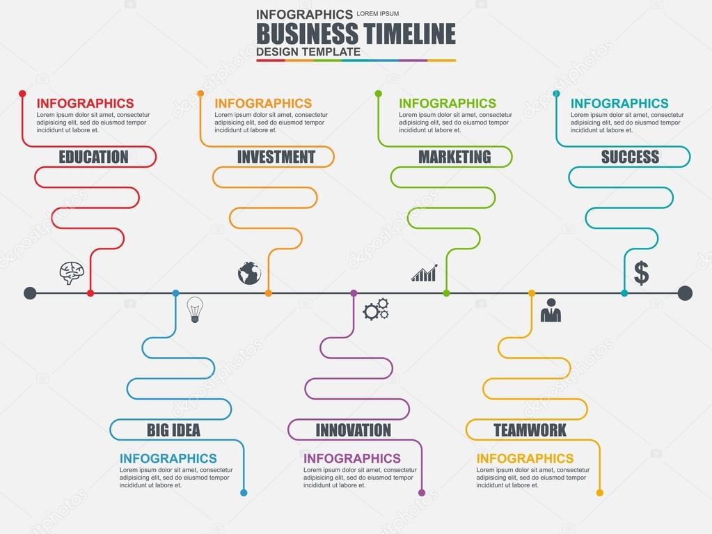Infographic Linear Timeline Vector Design Template Can Be Used For