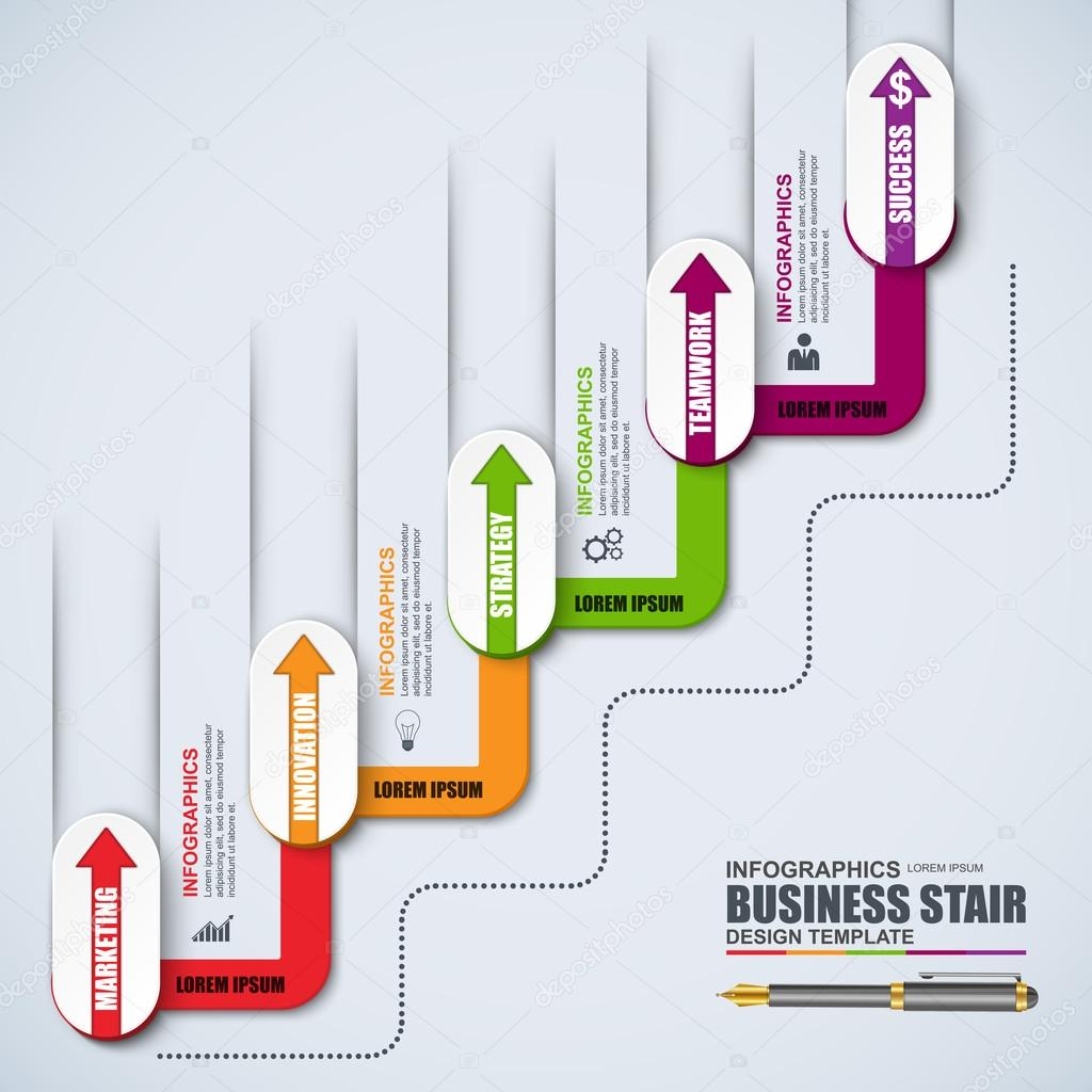 infographic staircase step vector design template can be used for