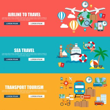 Flat vector concept journey, airline to travel, sea travel, website travel companies. Flat icons. Trip to World. Travel to World. Vacation. Road trip. Tourism. Travel banner. Travelling illustration.