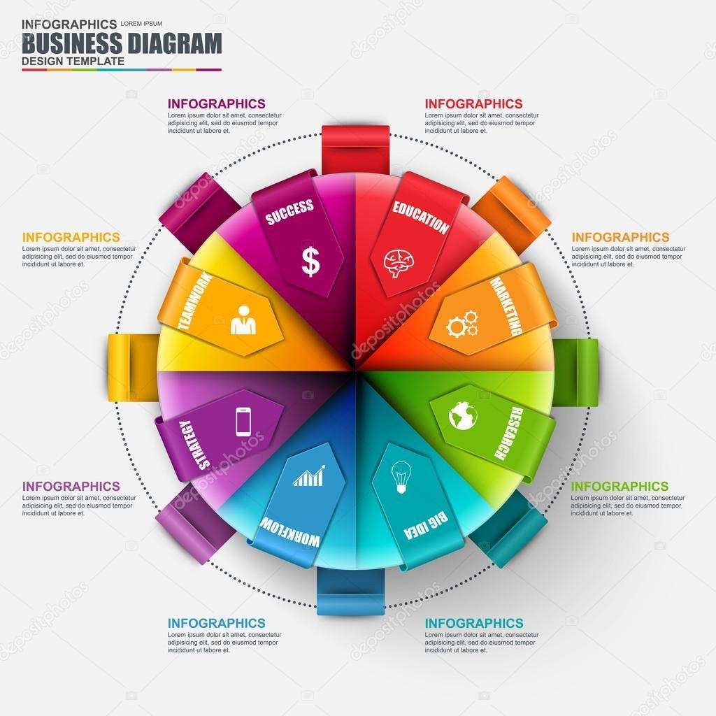 Plantilla de diseño de infografía vector circular. Puede usarse para ...