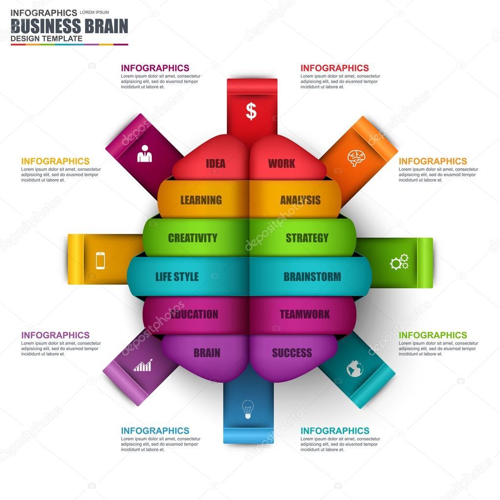 Plantilla de diseño del vector infografía de cerebro de negocios ...