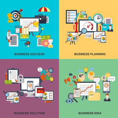 Set of flat line concept of business planning, business startup, business analysis, business strategy, analytics, mangement, corporate business team. Web design, marketing, and graphic design.