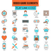 Set of thin line icons game objects, mobile gaming elements. Modern mono flat linear concept pictogram, set simple outline icon, symbol for graphic and web designers. Collection flat line icon.