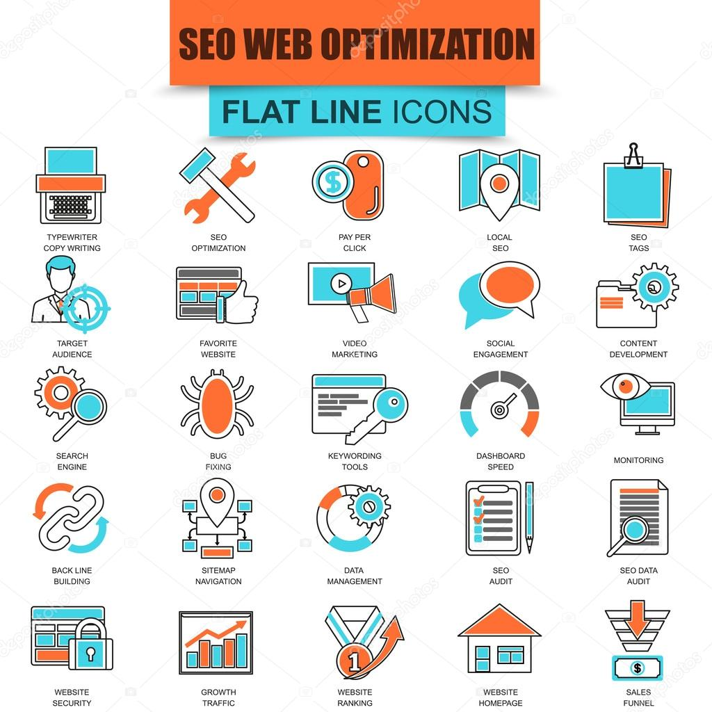 Set of thin line icons search engine optimization tools for growth traffic. Seo optimization and development website. Mono flat linear concept pictogram, set outline icon. Collection flat line icon.