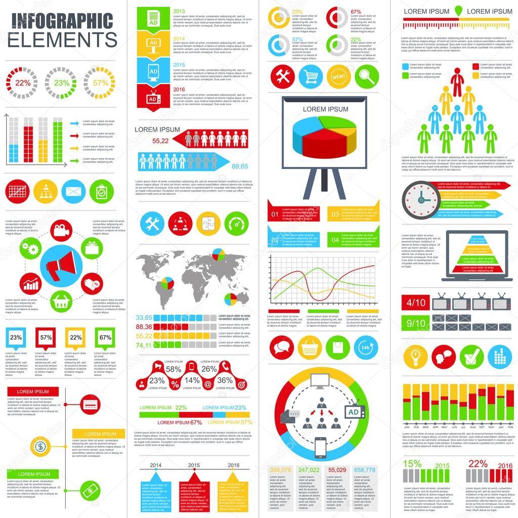 Conjunto de plano infografía elementos vector plantilla de diseño ...