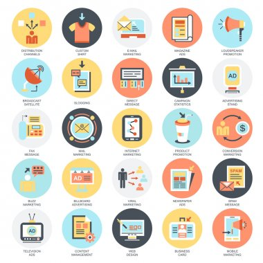 Flat conceptual icons set of advertising media channels and ads distribution, digital marketing. Concepts for website and graphic design. Mobile and print media. Isolated on white background.